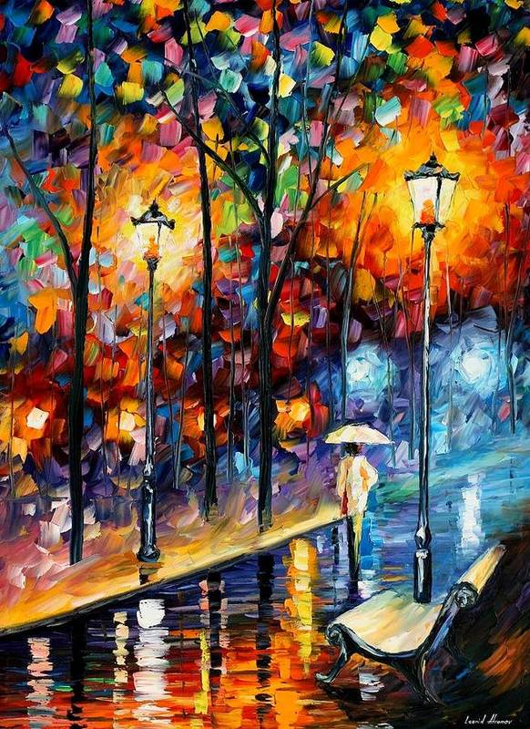 Afremov Art Print featuring the painting Warm Winter by Leonid Afremov