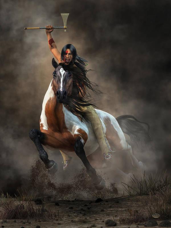 Warrior Art Print featuring the digital art Warrior by Daniel Eskridge