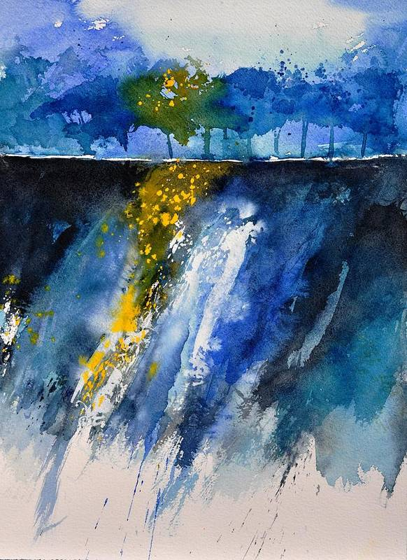 Abstract Art Print featuring the painting Watercolor 119001 by Pol Ledent