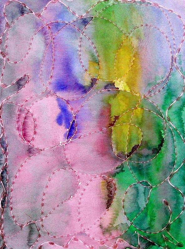 Mixed Media Art Print featuring the digital art Watercolor and Glue by Margie Byrne