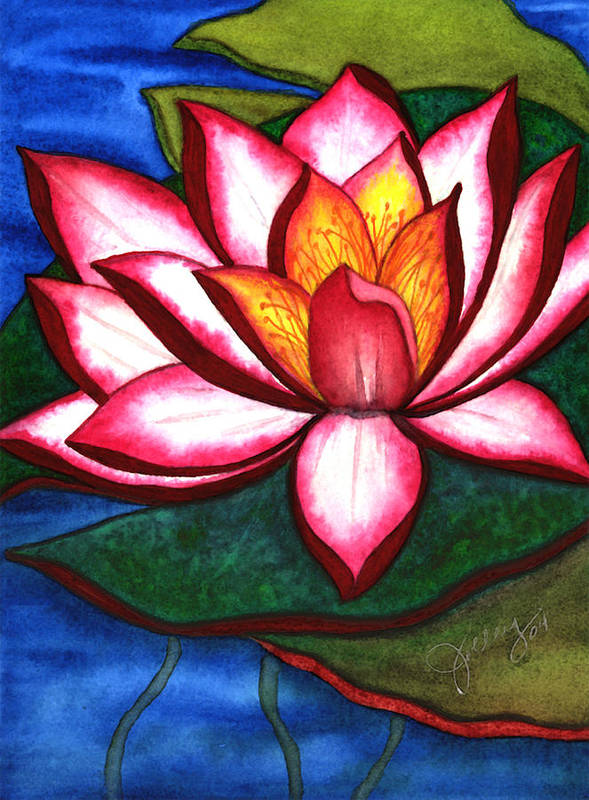 Watercolor Art Print featuring the painting Waterlily by Stephanie Jolley
