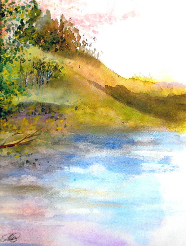 Landscape Art Print featuring the painting Waters Edge by Vi Mosley