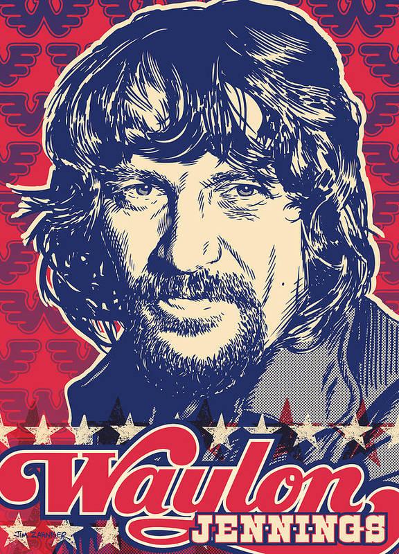 Outlaw Art Print featuring the digital art Waylon Jennings Pop Art by Jim Zahniser