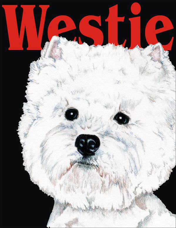 Westie Art Print featuring the drawing West Highland White Terrier Westie Urban Pop by Kathleen Sepulveda