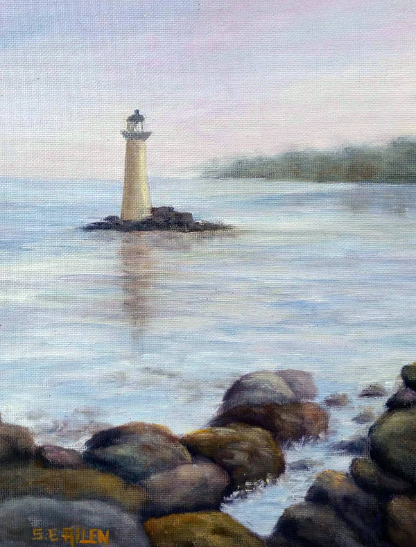 Light House Art Print featuring the painting Whaleback Light by Sharon E Allen