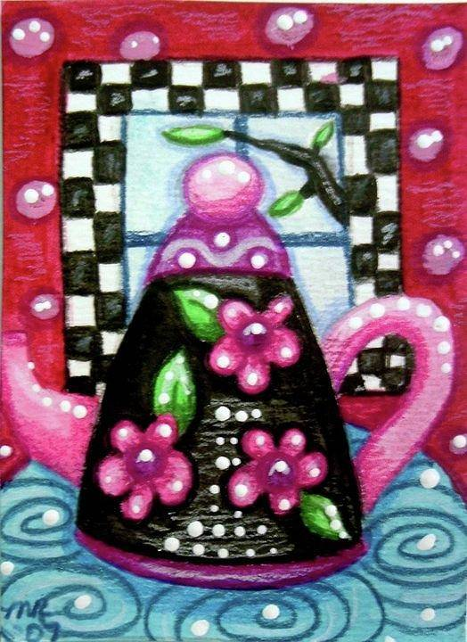 Tea Art Print featuring the painting Whimsical Black Teapot With Pink Flowers by Monica Resinger