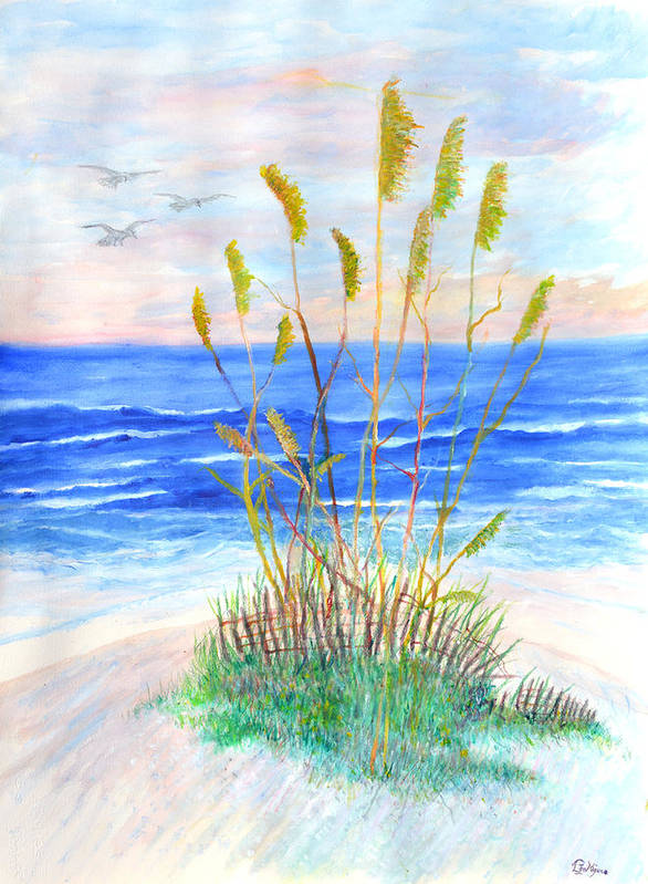 Sea Oats Art Print featuring the painting Whispering Sea Oats by Ben Kiger