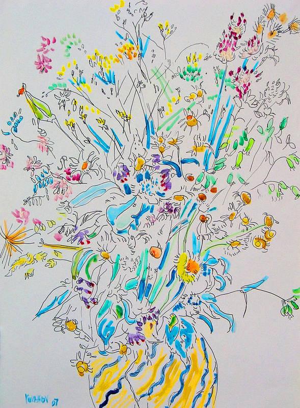 Wild Art Print featuring the painting Wild flowers by Vitali Komarov