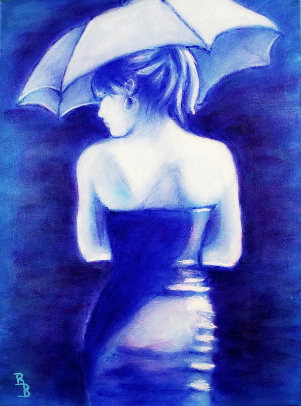 Women With An Umbrella Art Print featuring the painting Woman With An Umbrella Blue by Bob Baker