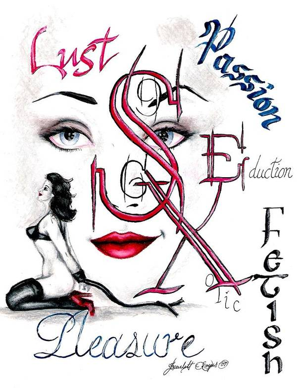 Erotic Art Print featuring the drawing Words of the Dirty Mind by Scarlett Royal