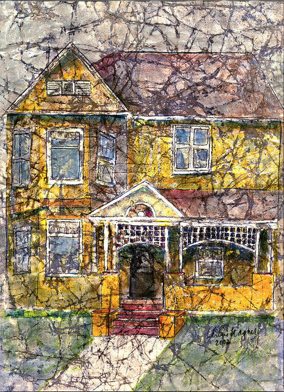 House Art Print featuring the mixed media Yellow Batik House by Arline Wagner