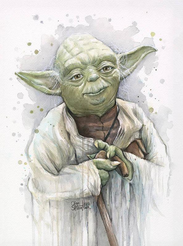 Yoda Art Print featuring the painting Yoda by Olga Shvartsur