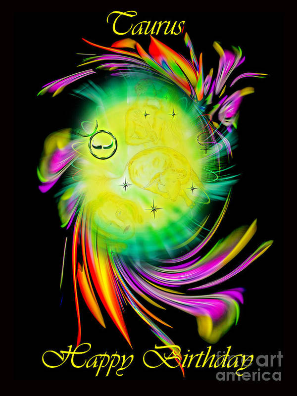 Zodiac Art Print featuring the painting Zodiac sign Taurus Happy Birthday by Walter Zettl