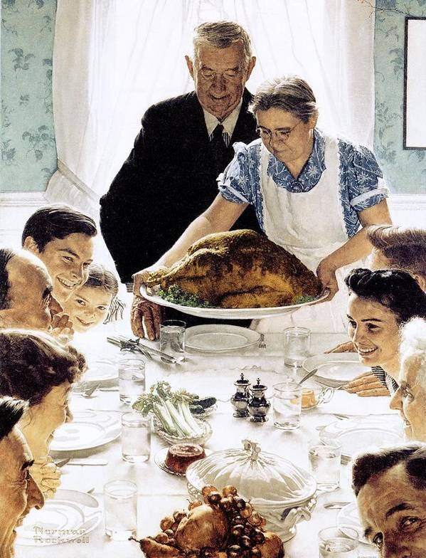 Family Art Print featuring the drawing Freedom From Want by Norman Rockwell