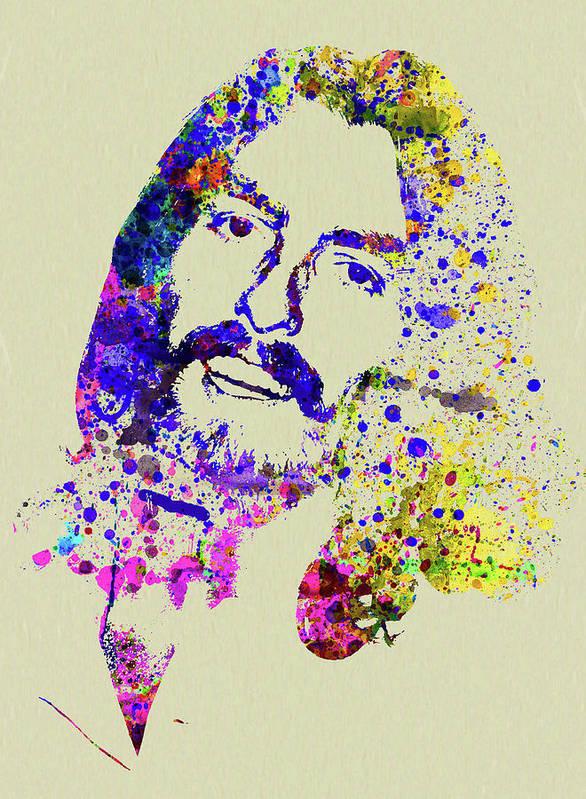 Beatles Art Print featuring the mixed media Legendary George Harrison Watercolor II by Naxart Studio
