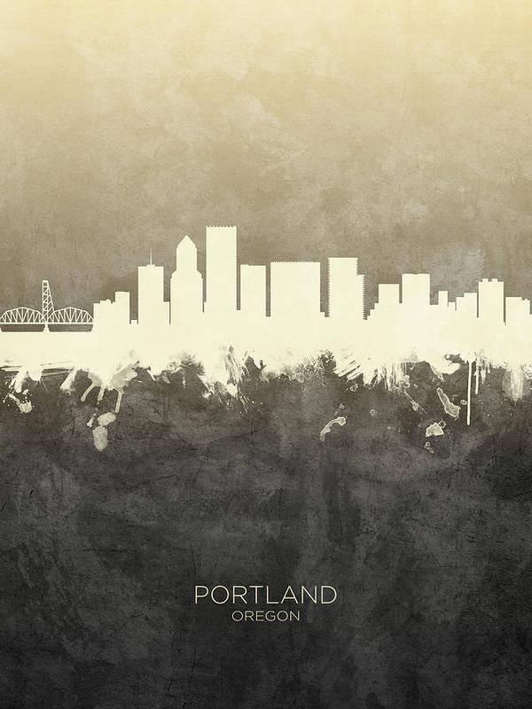 Portland Art Print featuring the digital art Portland Oregon Skyline by Michael Tompsett