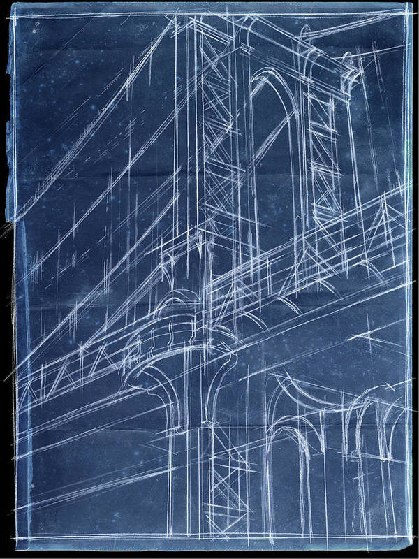 Architecture Art Print featuring the painting Bridge Blueprint I by Ethan Harper