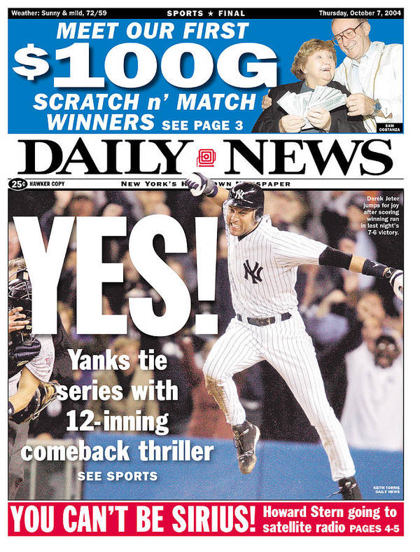 American League Baseball Art Print featuring the photograph Daily News Front Page Derek Jeter by New York Daily News
