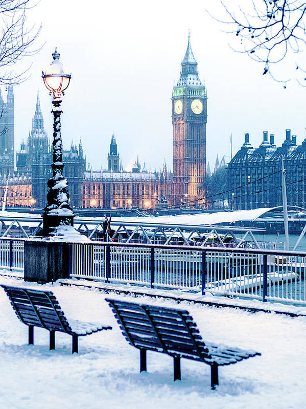 Clock Tower Art Print featuring the photograph Houses Of Parliament In The Snow by Doug Armand