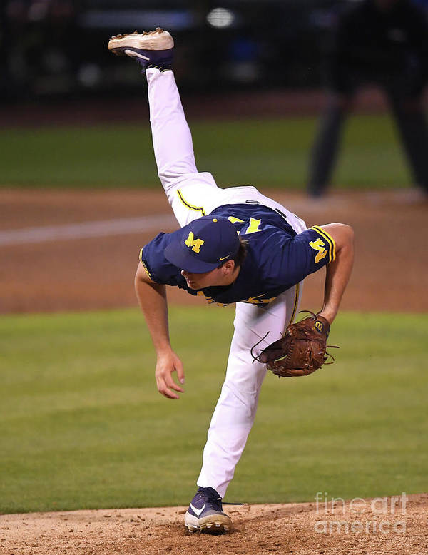 Relief Pitcher Art Print featuring the photograph Michigan V Ucla - Game One by Jayne Kamin-oncea