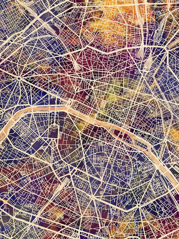 Paris Art Print featuring the digital art Paris France City Map by Michael Tompsett