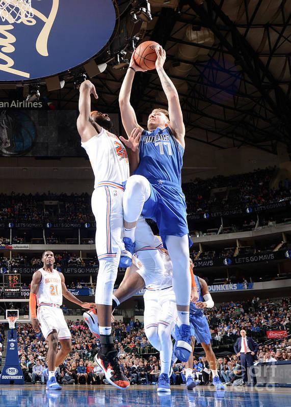 Nba Pro Basketball Art Print featuring the photograph New York Knicks V Dallas Mavericks by Glenn James