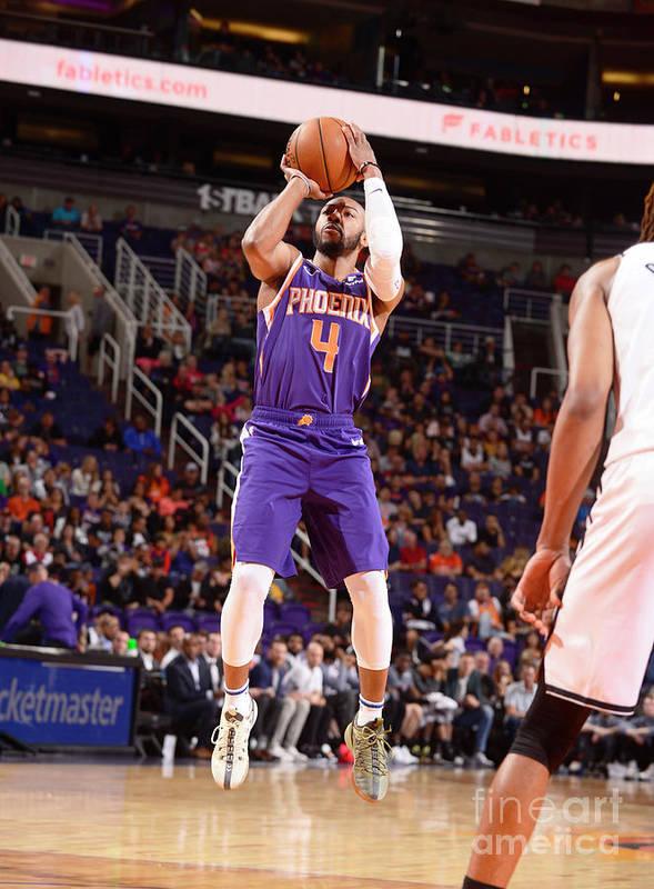 Nba Pro Basketball Art Print featuring the photograph Brooklyn Nets V Phoenix Suns by Barry Gossage