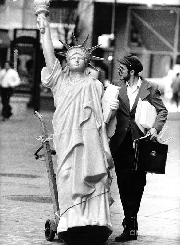 1980-1989 Art Print featuring the photograph A Model Of Lady Liberty Was Being Sold by New York Daily News Archive