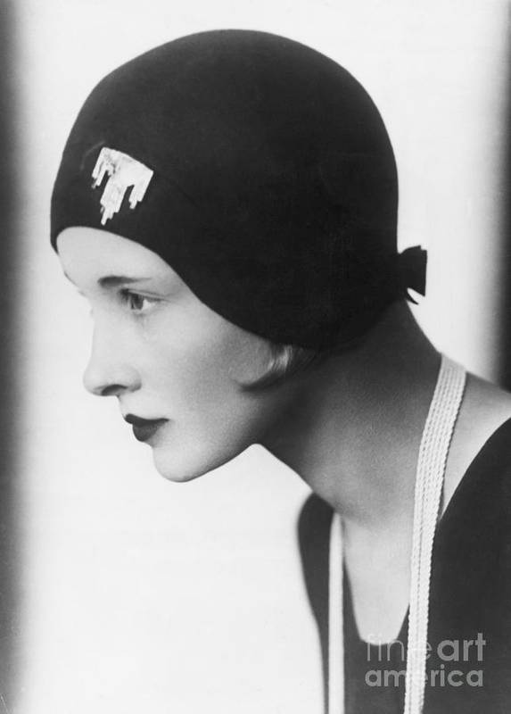 People Art Print featuring the photograph A Woman Modeling A Cloche by Bettmann