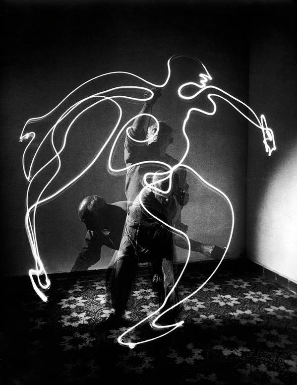 Artist Art Print featuring the photograph Artist Pablo Picasso Painting With by Gjon Mili