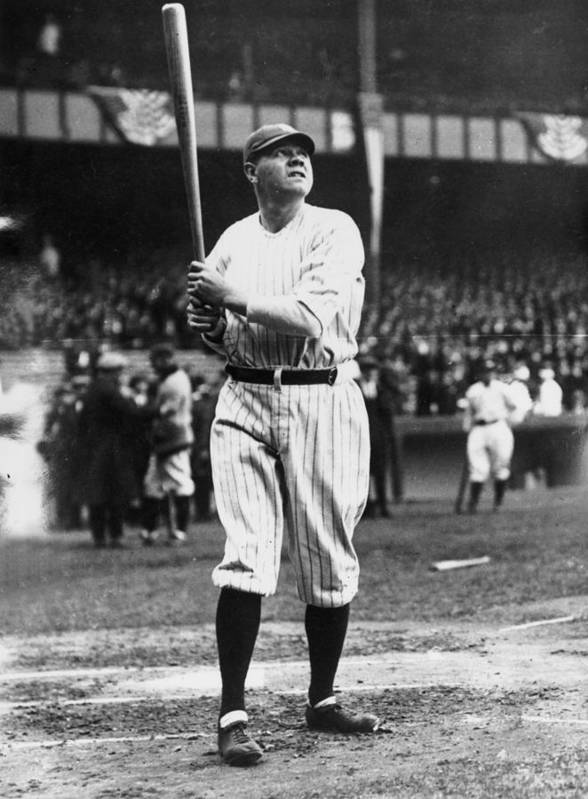 People Art Print featuring the photograph Babe Ruth Batting For Ny Yankees by Topical Press Agency