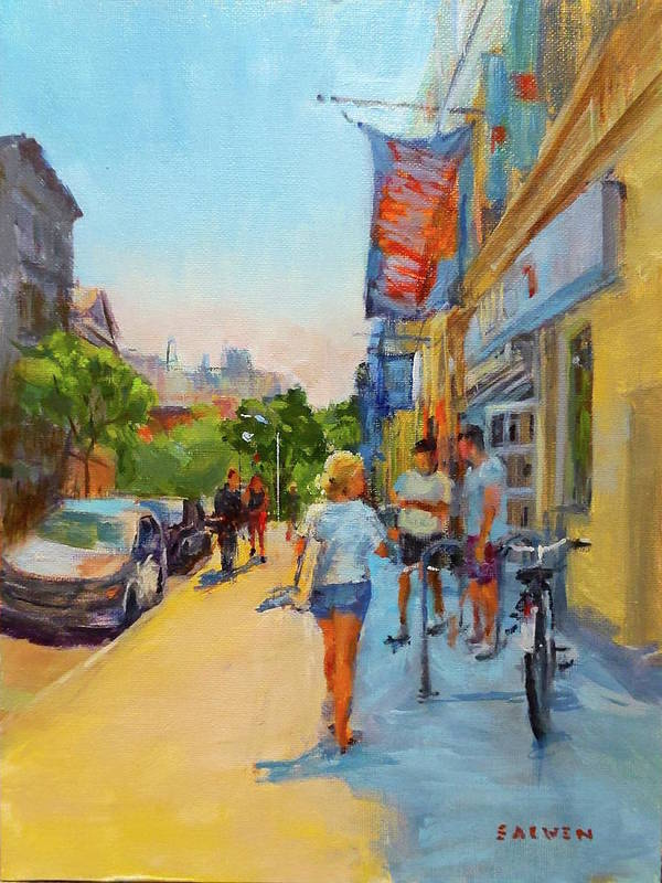 New York Art Print featuring the painting Banners And Shadows by Peter Salwen