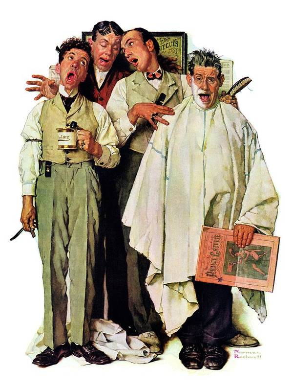 Barbers Art Print featuring the drawing Barbershop Quartet by Norman Rockwell