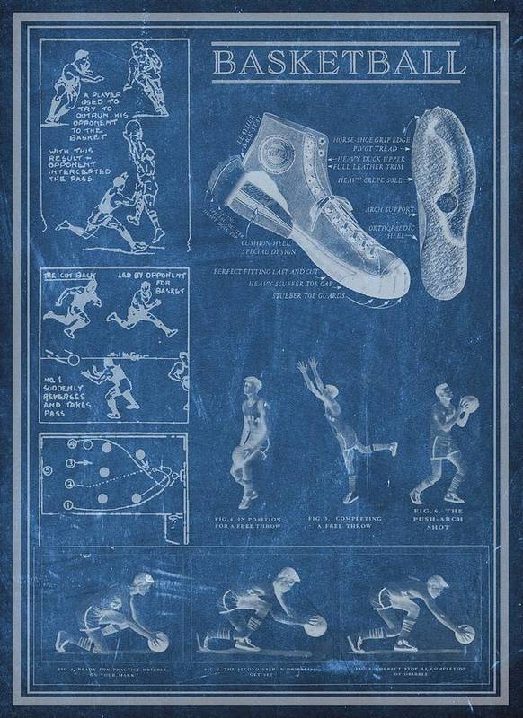 Art Art Print featuring the drawing Basketball Blueprint by Unknown