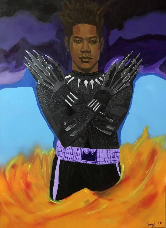 Acrylic #abstractart #abstractexpressionism #abstractpainting #art #contemporaryart #contemporarypainting #blackabstractexpressionists #sonyelocksmith #abstractartist #explore #explorepage #curator #artgallery #artcollector #haitianamerican #haitianpainter #haitianartist #artbasel2019 #artbasel #jeanmichelbasquiat #jeanmichelbasquiatart #blackpanther #wakandaforever #basquiat #basquiatforever #basquiatforsale #luxury #luxuryart #artoftheday Art Print featuring the painting Basquiat Forever by Sonye Locksmith