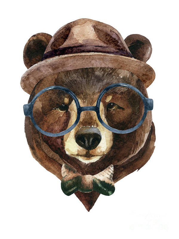Panda Art Print featuring the digital art Bear Head Watercolor by Tanya Syrytsyna
