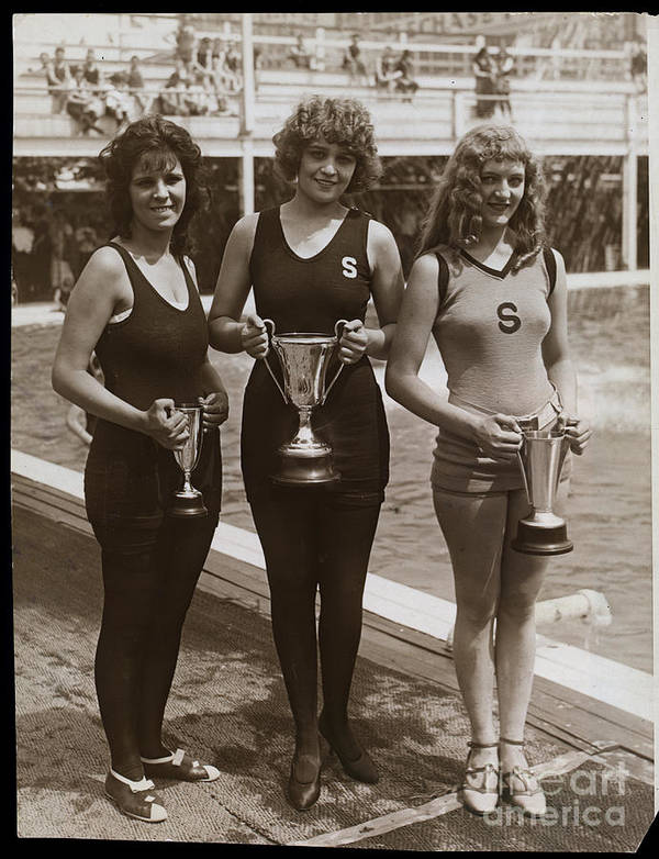 People Art Print featuring the photograph Beauty Contest Winners At Brighton Beach by Bettmann