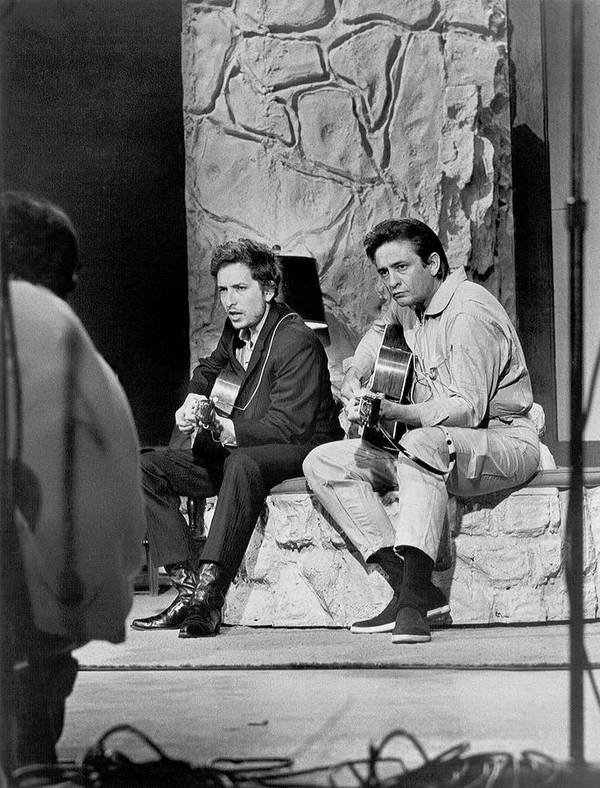 Music Art Print featuring the photograph Bob Dylan & Johnny Cash by Michael Ochs Archives