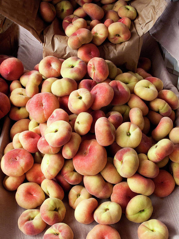 Retail Art Print featuring the photograph Box Of Donut Peaches At A Farmers Market by Bill Boch