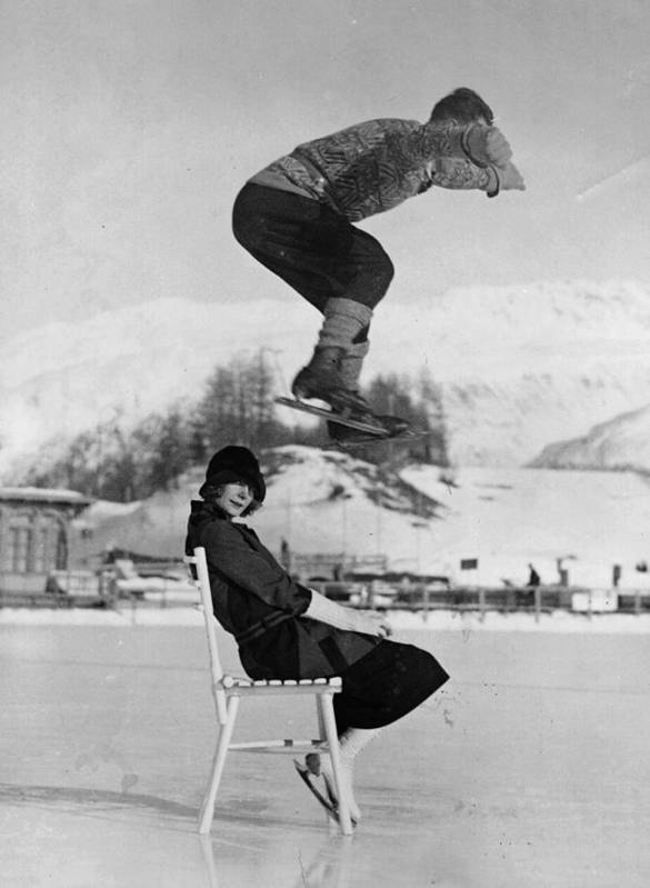 People Art Print featuring the photograph Chair Skate Leap by Hulton Archive