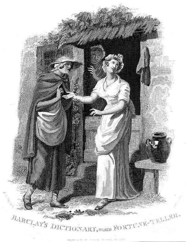 Engraving Art Print featuring the drawing Chiromancy Country Girl Having Her Hand by Print Collector