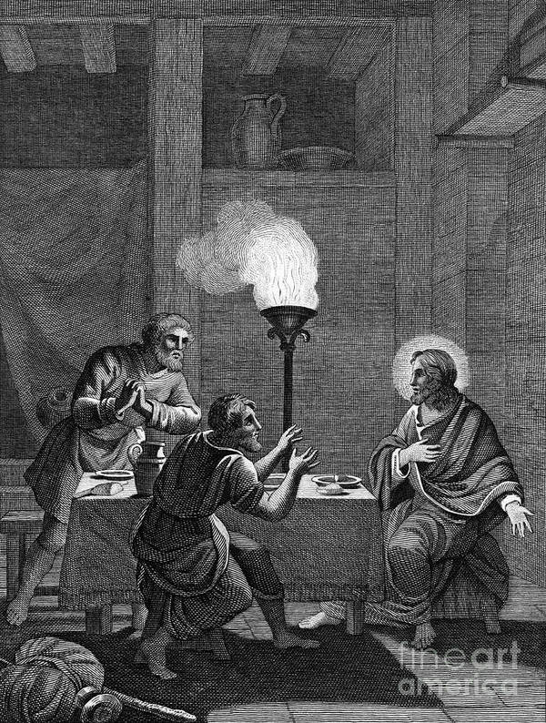 Engraving Art Print featuring the drawing Christ And The Two Disciples At Emmaus by Print Collector