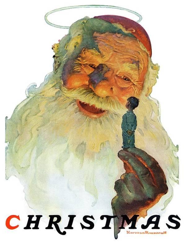 Boy Art Print featuring the drawing christmas, 1927 (king Kong Santa) by Norman Rockwell