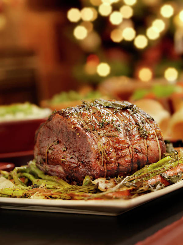 Roast Dinner Art Print featuring the photograph Christmas Roast Beef Dinner by Lauripatterson