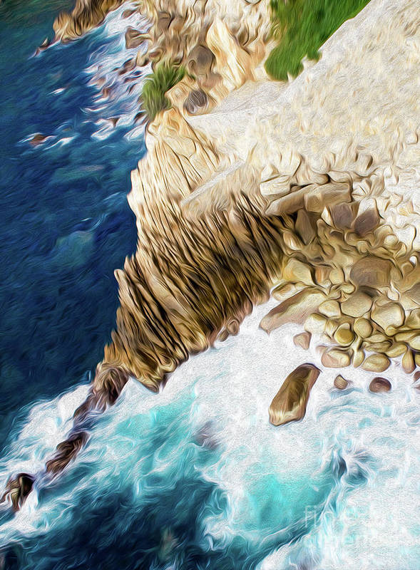 Cliffs In Alcapulco Art Print featuring the digital art Cliffs in Acapulco Mexico Ill by Kenneth Montgomery
