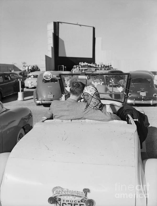 Austin Art Print featuring the photograph Couple Seated In Car At Drive-in by Bettmann
