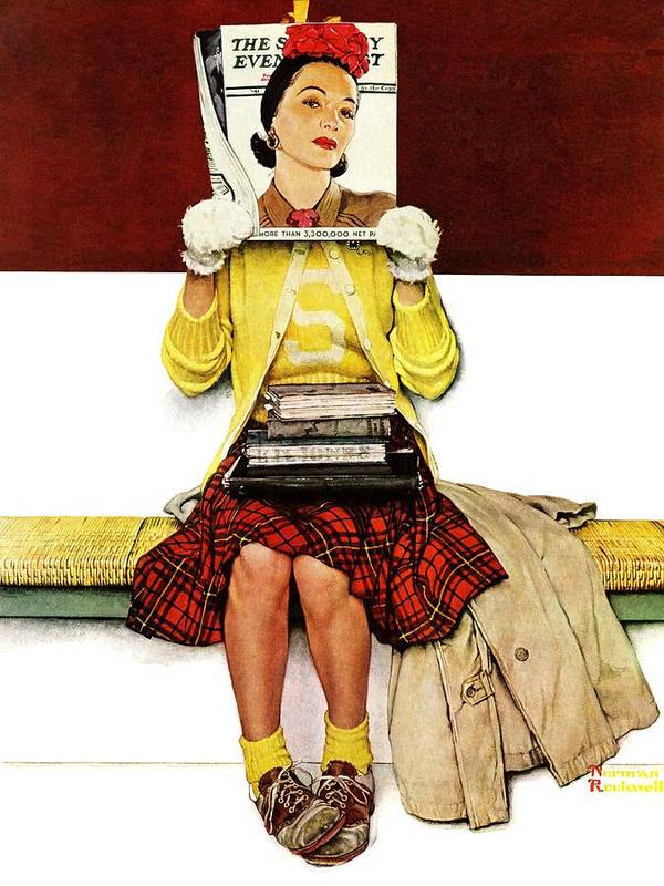 Covers Art Print featuring the drawing Cover Girl by Norman Rockwell