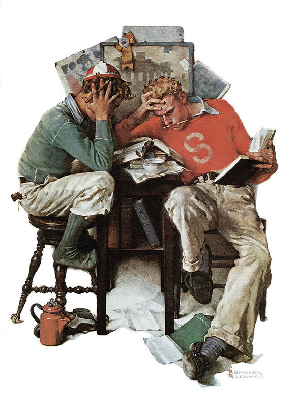 Books Art Print featuring the drawing cramming by Norman Rockwell