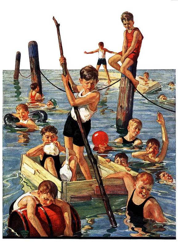 Boats Art Print featuring the drawing Crowd Of Boys Swimming by Eugene Iverd