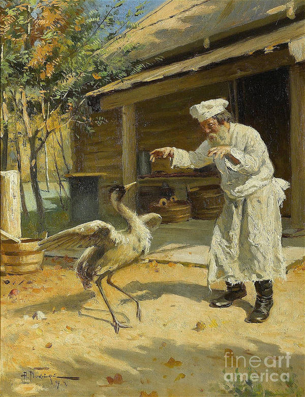 1860-1869 Art Print featuring the drawing Dancing Crane, 1897. Artist Makovsky by Heritage Images